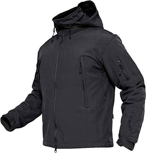 TACVASEN Herren Wasserdichte Softshell Fleece Outdoor Jacke mit Klappbare Kapuze, Schwarz, DE L (Tag XL)