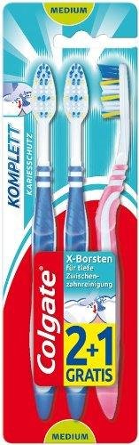 Colgate Komplett Kariesschutz Zahnbürste medium, 3x3er Pack (9 Stück), sortiert