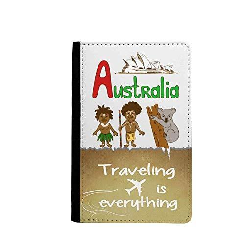 Australia National Symbol Landmark Pattern Traveling quato Passport Holder Travel Wallet Cover Case Card Purse