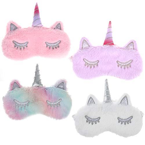 MWOOT Schlafmaske Mädchen Damen, 4 Stk Einhorn Augenmaske für Einhornübernachtungsparty