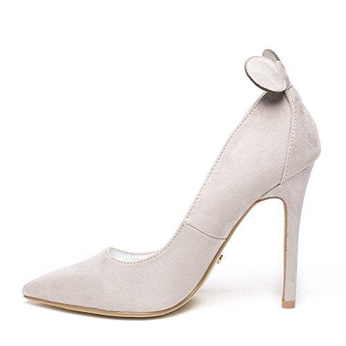 Ideal Shoes - Escarpins effet daim avec oreilles de souris Minnia Gris