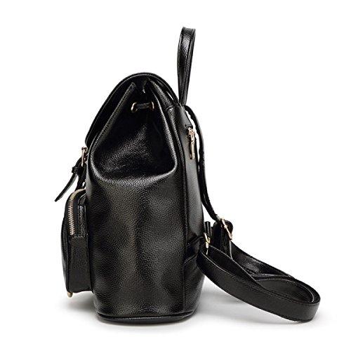 Borsa In Pelle Delle Donne Mini Pu Sport Casuali Zaino Nero,Black-OneSize Black