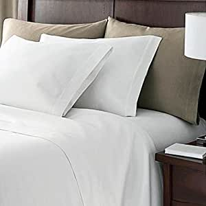 Linens Limited 100% Egyptian Cotton 200 Thread Count Flat Sheet, White, King