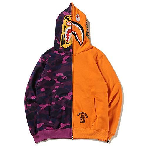 Bape Jacket Purple|Hot Style Bape Tiger Head Shark Stitching Color Matching Plus Velvet Hoodies Men Women Jacket Couples