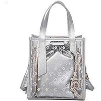 LridSu Bolso Clutch Bolso Transparente Bolso Transparente del totalizador Estrellado del Bolso con 1 Bolso pequeño Bolso de Compras Color Caramelo (Blanco) (Color : Silver, tamaño : 21x12x23cm)
