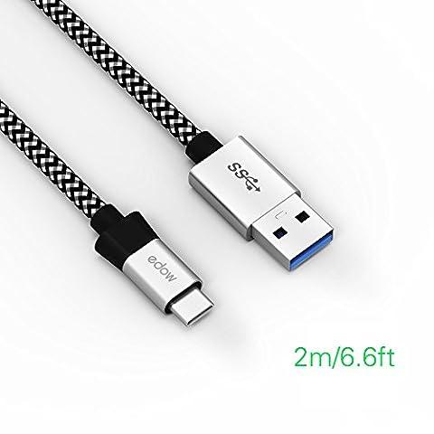 Edow 2M USB Type C-Chargeur Type C en Nylon Tressé - Câble USB Type C à USB 3.0 A Cordon de données de recharge rechapé en nylon (2M