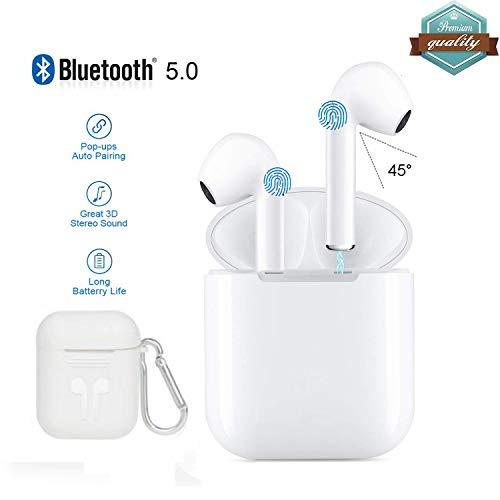 Sigmatech Wireless Stereo TWS Bluetooth 5.0 con microfono Bluetooth Sport Auricolare per laptop Joggin per smartphone e tablet MP3...