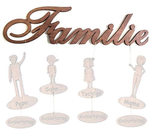 PISDEZ Familienname Wanddeko Wanddekoration zum Aufhängen mit/ohne Familienmitglieder Namen und Geburtstage personalisiert als Geschenkidee 80cm Breit