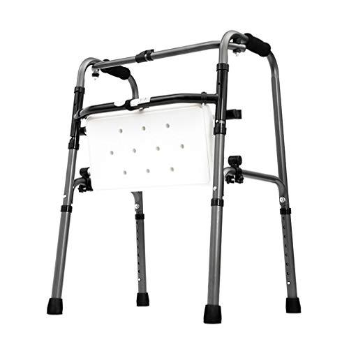 SXXDERTY-Walker Silla de Ducha Plegable, Andador geriátrico de Servicio Pesado - Marco de Ayuda para la Movilidad con Altura Ajustable, muleta de Acero con Asiento Acolchado