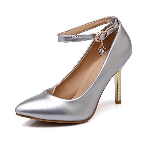 AllhqFashion Femme Stylet Couleur Unie Boucle Pointu Chaussures Légeres Argent