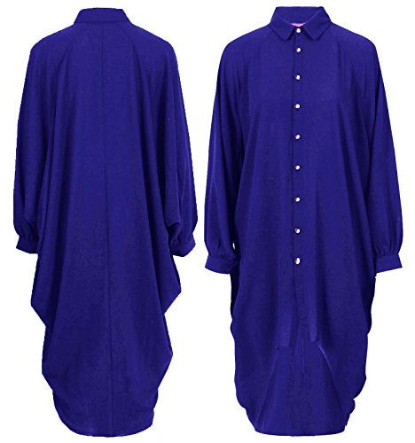 Damen zerissen Slash ausgeschnitten langärmliger Bodysuit Strampelanzug Trikot T-Shirt Top UK 8-14 - Königsblau, UK 8-10