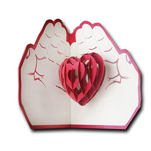 3d pop up biglietto d'auguri di carta regalo amore, cuore nelle mani, compleanno, anniversario, di san valentino