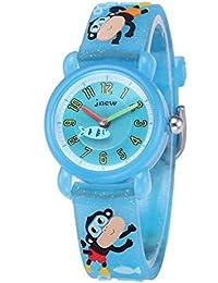 Boys Rubber Wrist Bear 3D Animal Printing Watch Quartz Toddler (Monkey Light Blue)