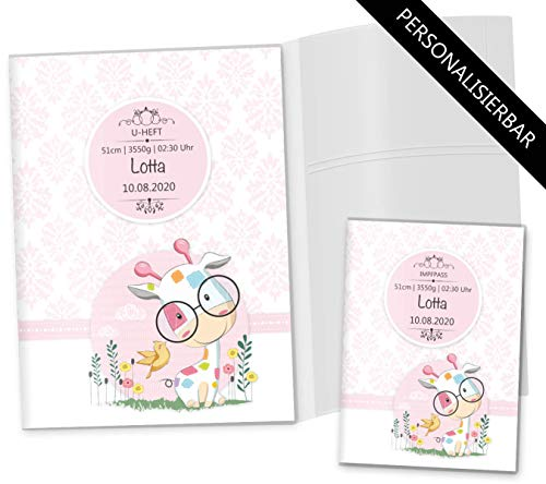 U-Heft Hülle 3-teilig Set rosa Little Lady Untersuchungsheft & Impfpasshülle personalisierbar (U-Heft Set 3-teilig personalisiert, Giraffe)