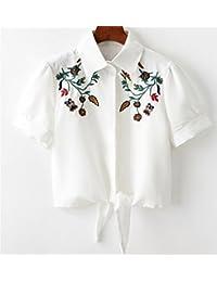 ZFFde Nuevo estilo Camisa de manga corta con encaje bordado de abeja para tu blusa