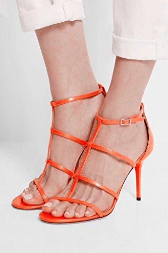 EDEFS Femmes Artisan Fashion Sandales Bout Ouverts Sexy Décolleté Particuler Tout Lanières Chaussures à talon aiguille de 100mm Nude Orange