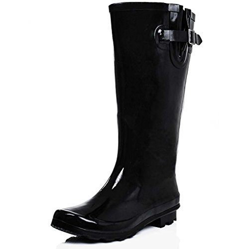 Flat Festival Wellies Wellington Knee High Rain Boots Black UK 7