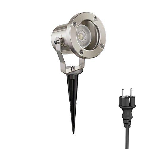 ledscom.de LED Gartenstrahler MIBU mit Erdspieß für außen, Edelstahl, inkl. GU10 Lampe 5.8W =60W 450lm 30° warm-weiß