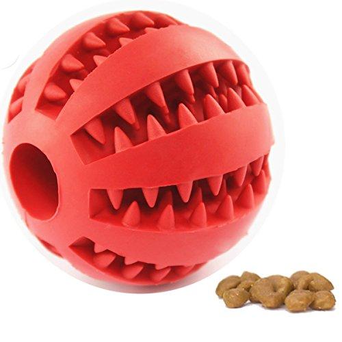 Hundespielzeug Ball von Voyage aus Naturkautschuk | Spielzeug für Hunde | Robuster Natur-Gummi Hundeball für Leckerli | Langlebiger Hundespielball | Auch für Welpen | Kauspielzeug | Spielzeug für Große & Kleine Hunde | Voll-Gummi Hunde-Frisbee, ø 7cm mit Dental-Zahnpflege-Funktion mit Noppen und Loch für Leckerli. (rot)