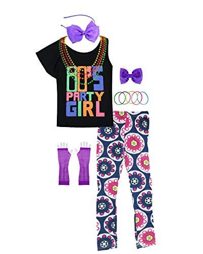 80er Jahre Party Girl Kind T-Shirt Neon Leggings Komplette 1980er Jahre Kostümzubehör (10/12, Purple)