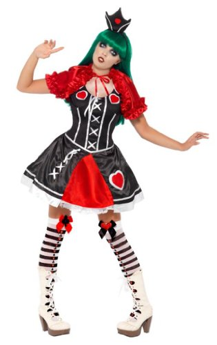 Gothic Queen of Hearts Costume Female UK Dress 12-14 21536M