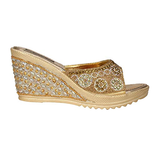 ziesha Women/Girls Bridal Block Heels/Upper and Heel Designed with ZARI Work and Diamond Work Gold