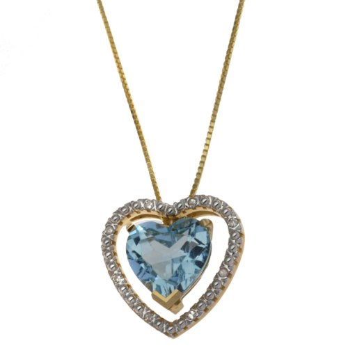 Carissima 9ct Yellow Gold 0.064ct Diamond and Blue Topaz Double Heart Pendant Necklace 43cm/17""