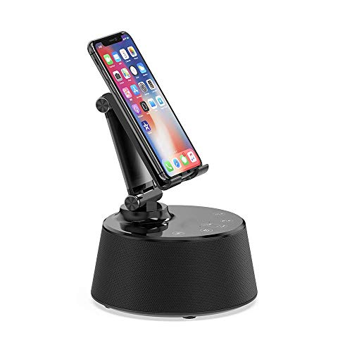 YMMONLIA Fast Qi Wireless Charger Alarm Clock BT Bluetooth Speakers with Stents with Touch Wireless Charger Speaker Docking Station with Built in Mic Handsfree Call-Black Alarm Control Interface