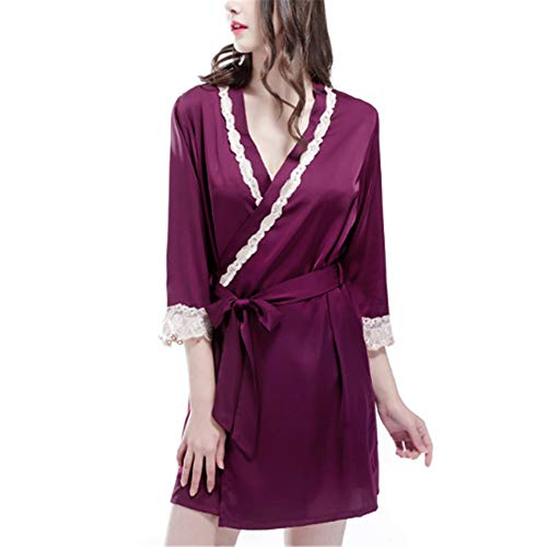 Kostüm Bomber Girl - Seide Satin Kimono Kleid Kimono Bademantel Damen Lange Robe Girl Party,Strickjacke Kleid Dünnschliff Simulation Seide Lila XXL