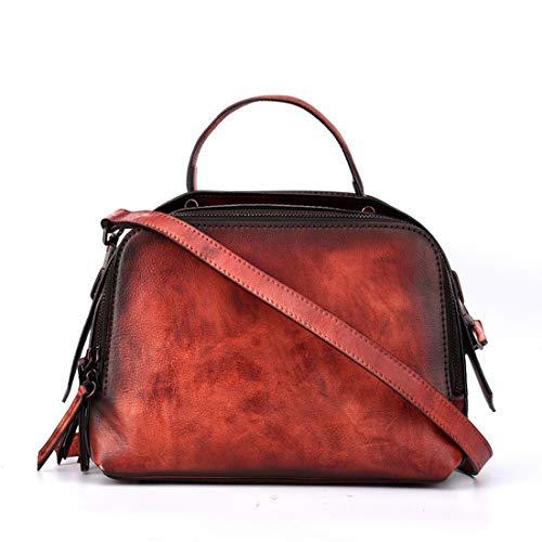 Kamiwwso Boston Bag Handtaschen für Frauen Echtes Leder Schulter Reisetasche Casual Geldbörse (Color : Red) -
