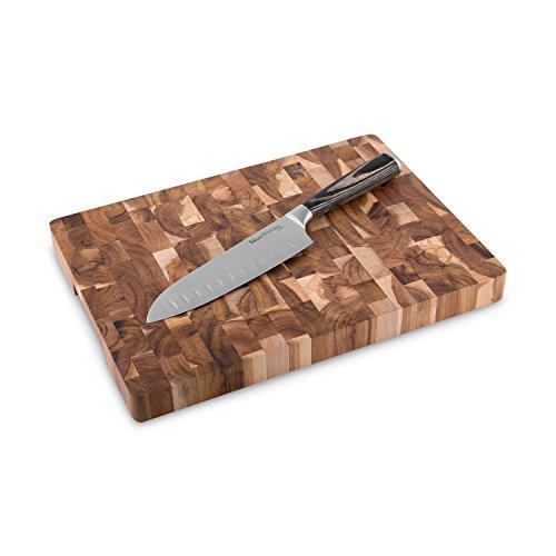 Santokumesser-Set 17 cm mit Akazienholz Schneidebrett Sakura 2 tlg. Kochmesser japanischer Art aus Edelstahl mit Kullenschliff und robustem Echtholz Schneidbrett