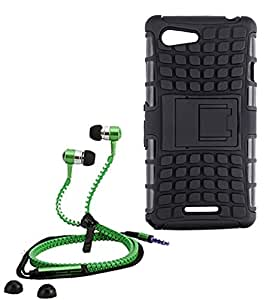 Droit Shock Proof Protective Bumper back case with Flip Kick Stand for Sony E3 + Stylish zipper hand free for all smart phones by Droit Store.