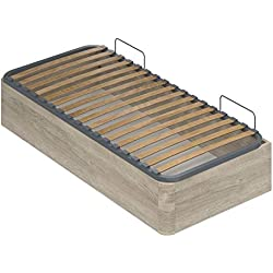 Marque Amazon -Movian - Cadre de lit simple avec coffre Constance Modern, 190 x 90 x 36,5, Effet Chêne