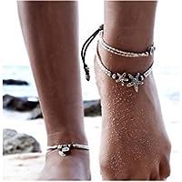ILOVEDIY Anklet Bracelet de Cheville Femme Argent Indien Etoile de Mer Perle Plage (Etoile de mer)