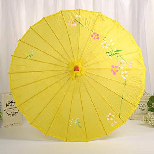 chengJellyLibrary Holz-Brautschirm Kunst-Requisiten Seidenblumen-Dekoration Hochzeitskleid Fotografie Sonnenschirm gelb
