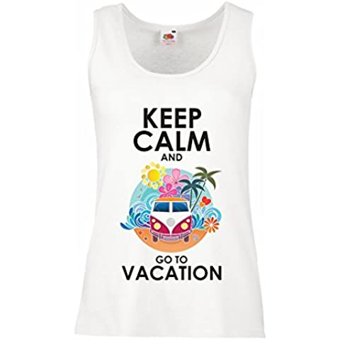 N4442P Camisetas sin mangas femenina Keep Calm and Go to Vacation