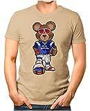 OM3® - New-England-Bear - T-Shirt | Herren | American Football Shirt | Super Bowl 53 LIII | NFL | 4XL, Khaki