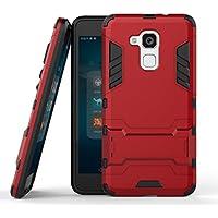 Fundas Huawei Honor 5c Funda Carcasa, Ougger Protector Absorción de Impacto [Kickstand] Piel Armor Cover Duro Plástico + Suave TPU Ligero 2in1 Gear Rear para Huawei Honor 5c Red