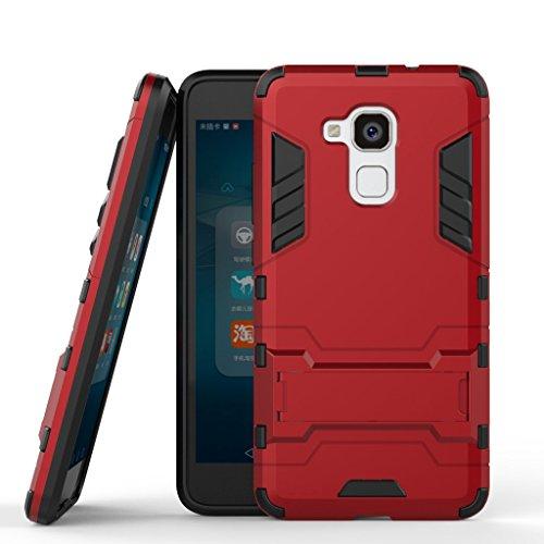 Handyhülle passt für Huawei Honor 5c Hülle Schale Tasche, Ougger Schutz [Kickstand] Leicht Hülle Schutz SchutzHülle Hart PC + Soft TPU Gummi Haut 2in1 Gear Rear für Huawei Honor 5c Rot