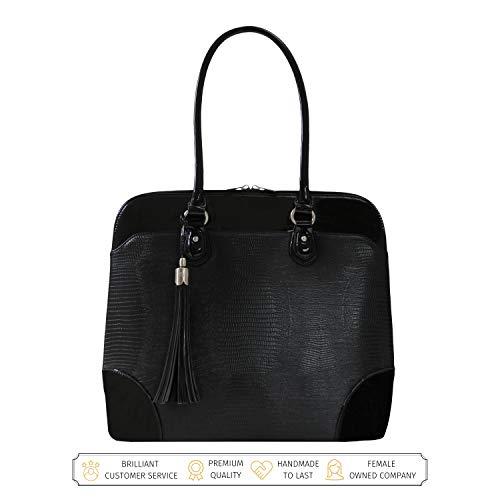 BFB Laptop Tragetaschen für Frauen-33cm Laptop-Umhängetasche-Designer Handgefertigte Handtasche-Qualität, DASS 's Made to Last schwarz schwarz (Faux-leder-aktenkoffer-tasche)