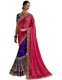 Natural Creation Saree Centre Women's Pink & Dark Bluezoya Silk Withfoal Saree &pallu Of Marble SilkWith Heavy...