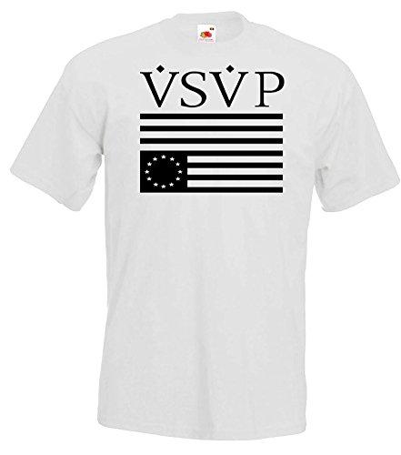 TRVPPY Herren T-Shirt Modell VSVP ASAP ROCKY, Weiß, L (Asap Rocky Bekleidung)