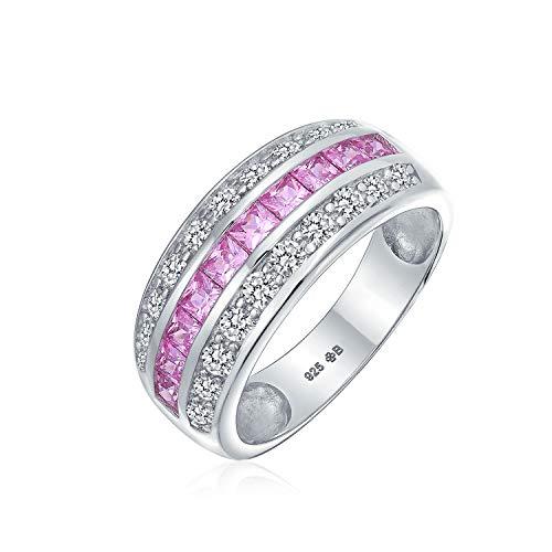 Zirkonia Channel Set Pink Princess Cut CZ Dome 3 Reihen Breit Erklärung Ehering Verlobungsring Für Damen Silber (Rosa Damen-verlobungsring)