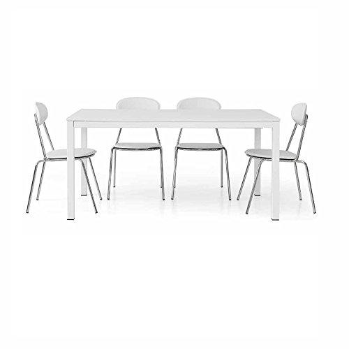 InHouse srls Table Extensible Blanc Pore Ouvert avec 1 rallonge da 50 cm, Style Moderne, en MDF laminé et Structure en Acier - Dim. 140 x 90 x 75