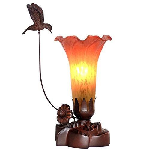 Kleine Nachttischlampe Tischlampe Glasschirm Blume Design Schreibtischlampe 10,2 Zoll Höhe Harz Lampensockel (Farbe : Orange) -