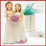Figura Novia de resina pareja gay para unioni Civili entre mujeres-Bombonera boda, unioni Civili, decoración tarta
