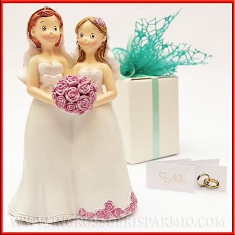 Figuras de resina unioni civili, boda gay entre mujeres, óptimo para celebrar matrimoni gay, utilizable como bomboniera o Topper torta