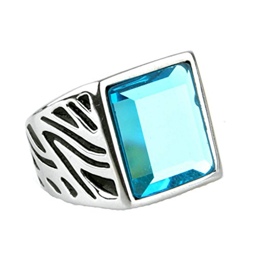 Epinki Jewelry Stainless Steel Vintage Punk Rock Men Silver Blue Mosaic Glasss Ring 3CM Size X 1/2