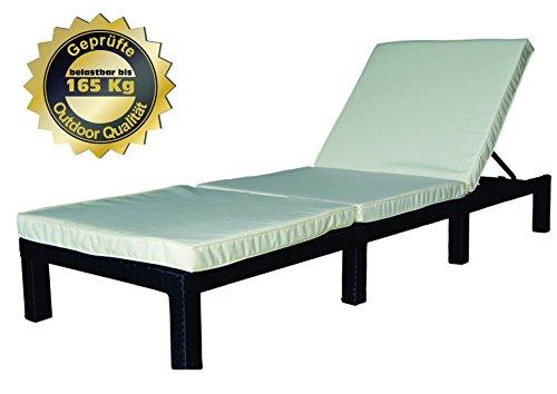 MK Outdoor Rattan Rattanliege Lounger-S, belastbar bis 165 kg, mehrfach verstellbare Rückenlehne, schwarz, Gartenliege, Relaxliege, Liegestuhl, Sonnenliege, Rattanmöbel
