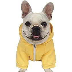 Moolecole Cremallera Capucha Mascota Disfraz Perro Ropa Equipar Gracioso Mascota Vestir Por Francés Buldog y Doguillo Amarillo 2XL